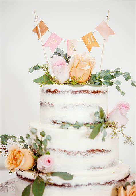 wedding diy watercolor bunting cake topper design