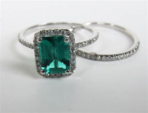 5 Emerald Cut Emerald Engagement Ring Sets 14k White