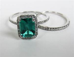 575 emerald cut emerald engagement ring sets 14k white With wedding ring emerald