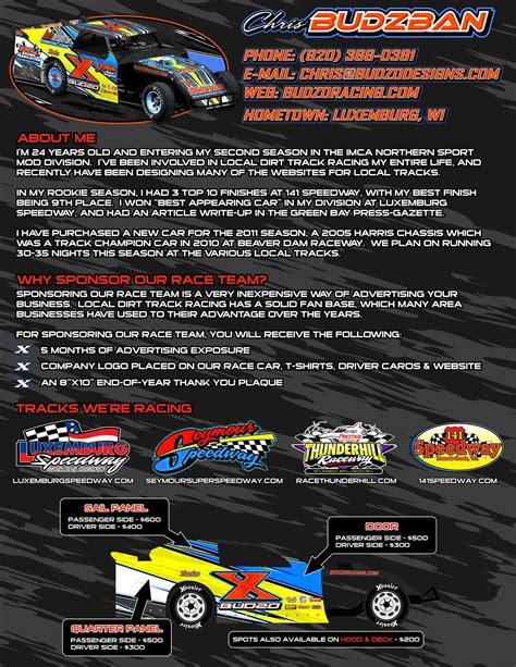 race car sponsorship template  resume cover racing