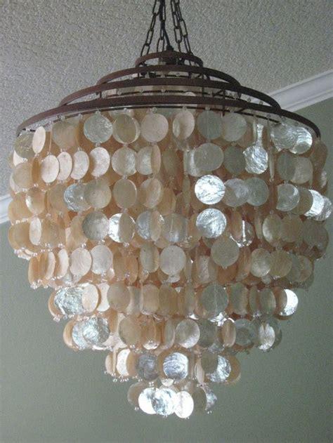 capiz shell chandelier ideas  pinterest diy