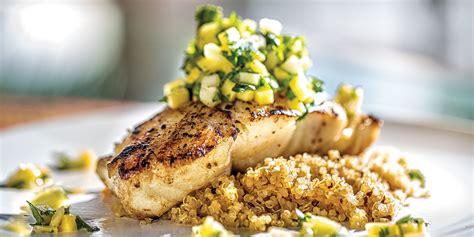grouper recipe pan seared gulf florida salad quinoa coconut greens field baby
