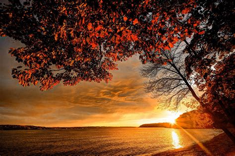 landscape wallpaper landscape autumn coast sunset sky lake sea