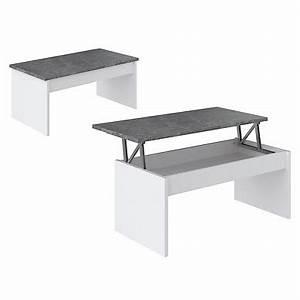 Table Basse Ovale Ikea : simple table basse plateau relevable yana blanc et bton with table basse relevable ovale ~ Melissatoandfro.com Idées de Décoration