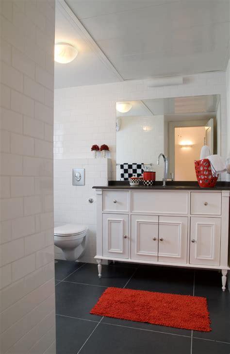 black white  red   bathroom abode