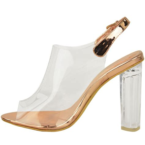 strappy pointy pumps womens high clear heels ankle strappy open toe