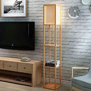 Stehlampe Für Wohnzimmer : moderne led dekorative h lzerne loft stehlampe schwarz wei stehlampe mit tischablagen regal f r ~ Frokenaadalensverden.com Haus und Dekorationen