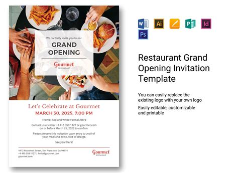 restaurant grand opening invitation template  psd word