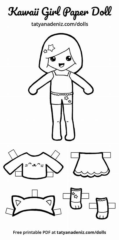 Paper Doll Dolls Printable Kawaii Coloring Cut