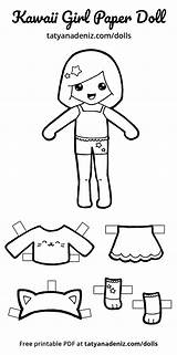 Paper Doll Dolls Printable Kawaii Coloring Cut Activities Clipart Craft Fun Pages Outs Pdf Activity Little Artikkeli Colored sketch template