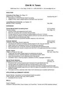 counselor resume sle 2016 experience resumes