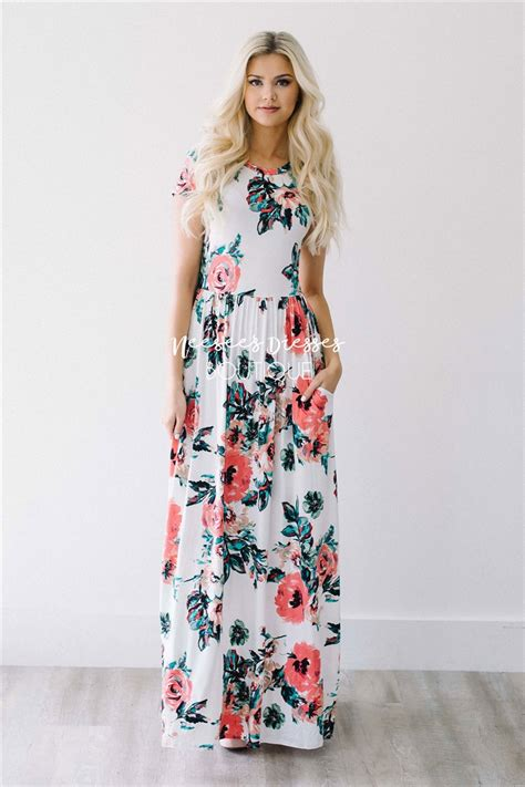 white watercolor floral maxi modest dress