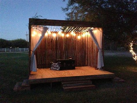 built  stage   friends outdoor wedding