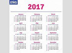 영어 달력 2017 — 스톡 벡터 © rustamank #101004386