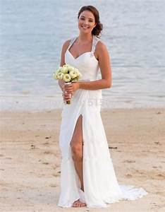 Crystal beaded halter side slit white chiffon long beach for Beach plus size wedding dresses