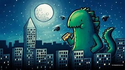 Godzilla Cartoon Drawing Desktop Wallpapers Background Building