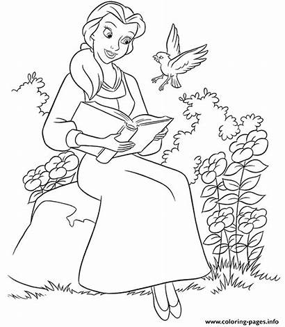Coloring Princess Disney Reading Belle Garden Pages