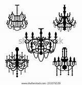 Chandelier Vector Drawings Raster Silhouettes Coloring Shutterstock Similar Vectorstock sketch template