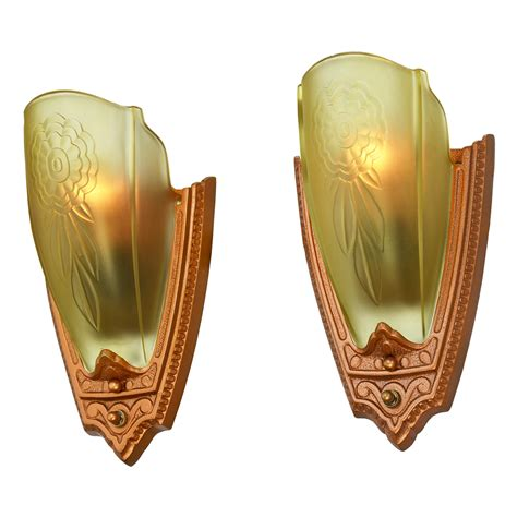 antique art deco ls 1930s pair art deco wall sconces glass slip shade lights
