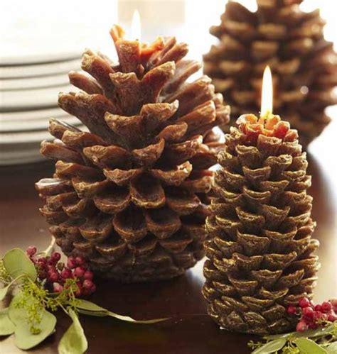 ideas  pine cones  candles arrangements shelterness