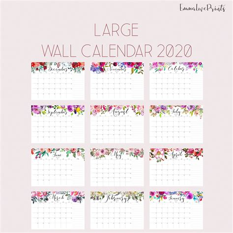 large wall calendar watercolor calendar calendar desk
