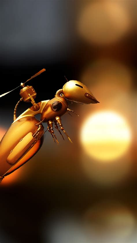 wallpaper bee robot  art