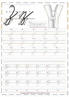 cursive handwriting tracing worksheets letter   zipper  printable coloring pages  kids