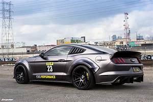 Matte Gray Ford Mustang Widebody - Forgestar F14 Wheels