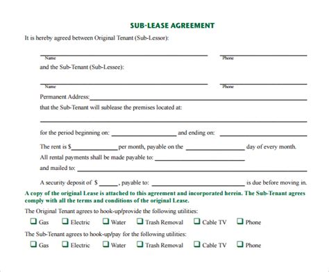 23 Sample Free Sublease Agreement Templates To Download