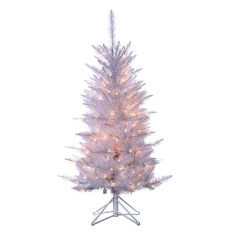 4 foot white christmas tree sterling 4 ft pre lit white tinsel artificial tree with clear lights 6015