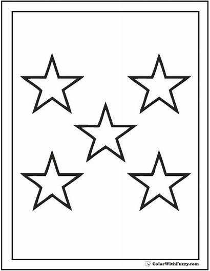 Coloring Stars Star Pages Five Printable Pdf