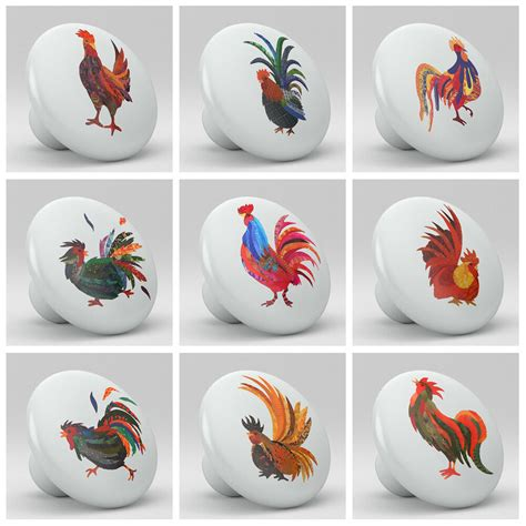 Set Of 9 Roosters Chicken Colorful Ceramic Knobs Pull