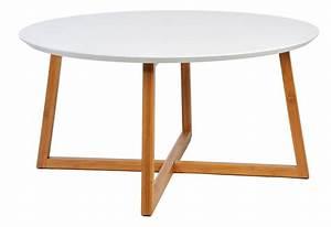 Table Basse Scandinave Ronde : table basse scandinave ronde en bois blanc et naturel ~ Teatrodelosmanantiales.com Idées de Décoration