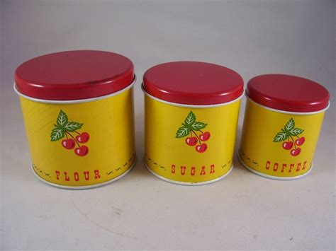 fashioned kitchen canisters vintage childs tin cherry canister set of three metal
