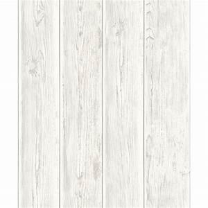 Papier peint bois de bardage vintage blanc kozielfr for Kitchen cabinets lowes with papier peint 4 mur