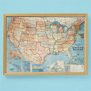 vintage framed usa map wall art pinterest With map wall art
