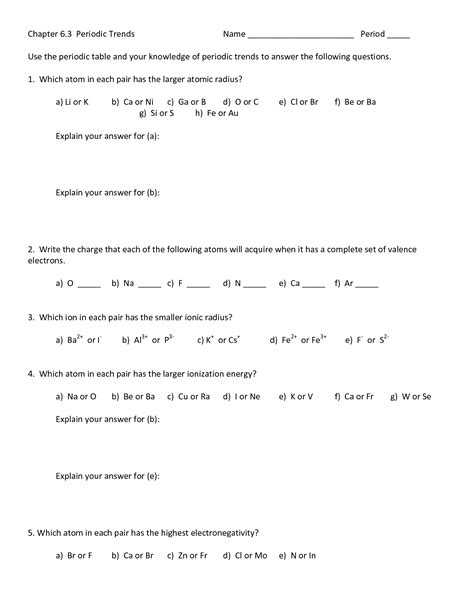 20 Best Images Of Periodic Trends Worksheet Answers Key  Periodic Trends Worksheet Answer Key