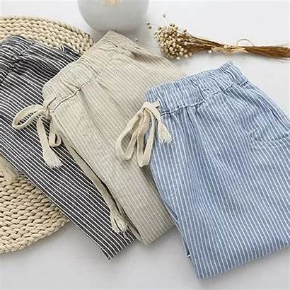 Pants Linen Cotton Loose Trousers Elastic Striped