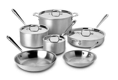 clad stainless cookware chef master steel piece silver sets mc2 ply tri professional kitchen bonded pots pans aluminum choice safe
