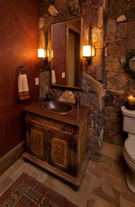 large stone tiles makes for a rustic romantic bathroom