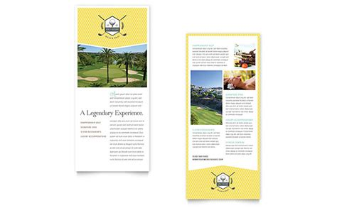 golf resort rack card template word publisher