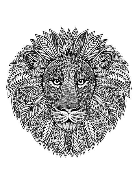 Lion Head As Mandala Malas Adult Coloring Pages
