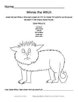 winnie  witch coloring activity  loft education design tpt