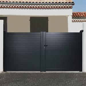 Leroy Merlin Portail : portail battant aluminium concarneau gris naterial ~ Nature-et-papiers.com Idées de Décoration
