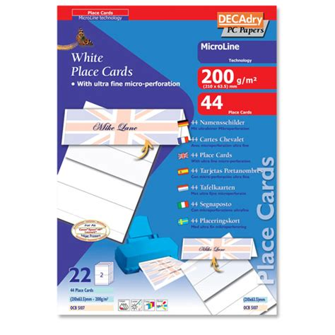 decadry place cards template free decadry place cards 210x63 5mm pack of 44
