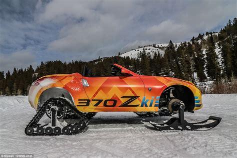 Nissan Car 370z Snow by Nissan 370z Sports Car Gets Skis And Tank Tracks Daily