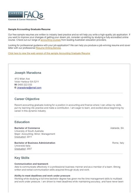 Resume New Graduate Accounting by Calam 233 O Accounting Graduate Resume