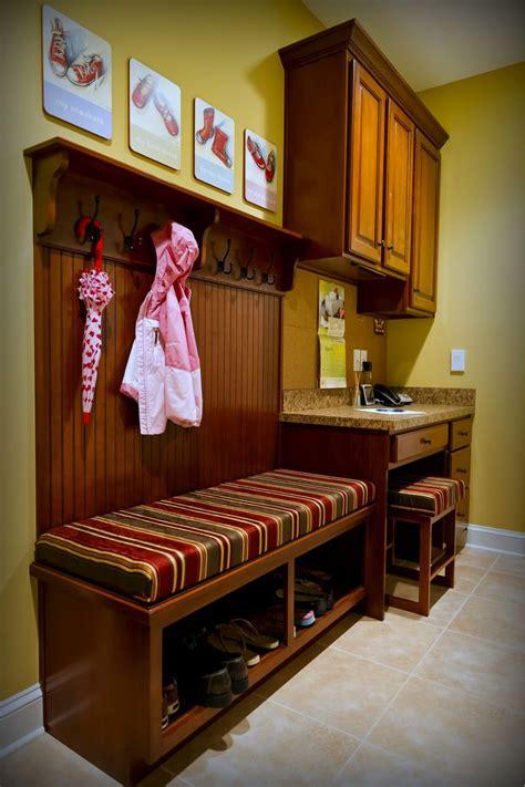 custom cherry mudroom area   small desk