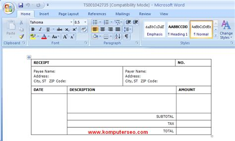 download template kwitansi untuk word dan excel 2007 2010