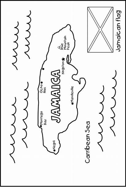 Jamaica Map Jamaican Coloring Activities Project Pages